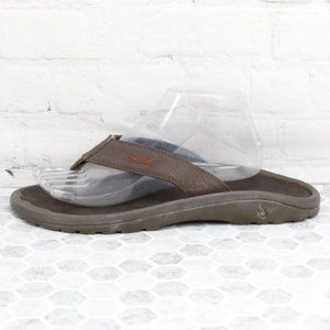 OluKai Brown Leather Thong FlipFlop  Sandals Sz 10